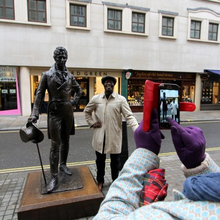 man at statue of Beau Brummell, Jermyn Street, St. James's, London Literary Tours, Aldous Huxley, Evelyn Waugh, London literary walks